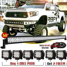 "50"" inch LED Light Bar Combo + 6x 4"" CREE Pods Off Road Driving SUV RBP RZR Jeep"