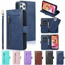 Phone Wallet Strap Flip Stand Case Zipper Purse Leather Magnetic Car Removable