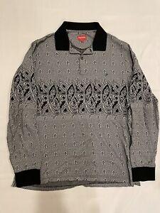 Supreme paisley long sleeve polo shirt black size Large