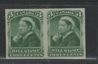 CANADA  QV Bill stamp imperforate pair VFNH 3 cent green