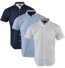 Mens 100% Cotton Oxford Short Sleeved Shirt Plain Casual Summer S-XXL