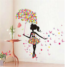 Flower Girl Wallpaper Wall Art Decal Sticker Vinyl Home Children's Room Decor