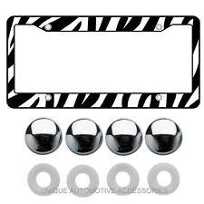 1 ZEBRA LICENSE PLATE FRAME BLACK & WHITE 4 CHROME CAPS