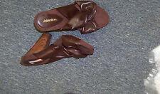 womens xhilarations brown cross strap wood heels shoes size 6