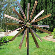 Stanwood Wind Sculpture: Kinetic Copper Dual Spinner   Double Windmill  Spinner
