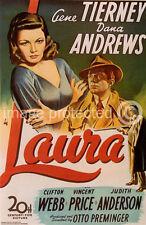 Laura Vintage Gene Tierney Vincent Price Movie Poster 18x24