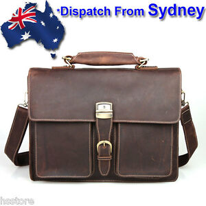Wow Cool Men's 100% Genuine Leather Business Travel Bag Laptop MacBook Bags T006