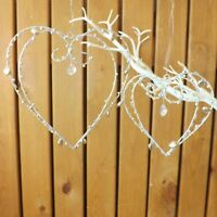 Silver Metal Wire Hanging Jeweled Scroll Love Heart Wedding Gift Home Decoration