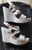 ESTRELLA® Scarpe sandali beige zeppa suede sabbia alti N 38 high heel wedge