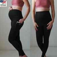US Women Maternity Leggings Seamless Yoga Sport Pants Stretch Pregnancy Trousers