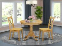 """3pc dinette set 36"""" round kitchen pedestal table + 2 wood chairs in light oak"""