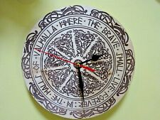 Viking Valhalla Wall Clock  engraved on wood man cave gift item