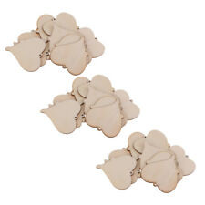 30x Wood Cutout Shape Unfinished Heart Tags with Hole for Wedding Craft 45mm