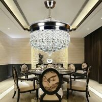 42inch Invisible Crystal LED Ceiling Fan Light Modern Dinning Room Chandelier