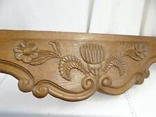 """""""21""""Antique French Oak Wood Carved Pediment Panel Ornament -Thistle and flowers"""