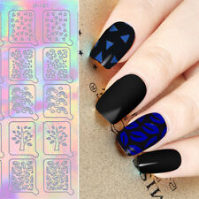 20Tips Holographic Nail Vinyls Rainbow Nail Art Hollow Stencil Adhesive Stickers
