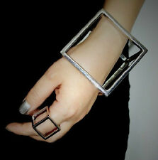 Women Gothic/Punk Jewelry Charm Retro Bronze Hollow Out Cube Square Ring Size 7