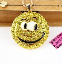Jewelry Betsey Johnson pendant rhinestone cute smiley face enamel chain necklace