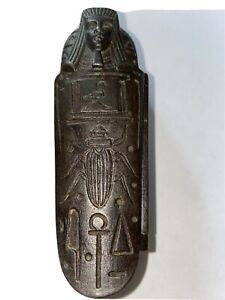 KING TUT SARCOPHAGUS CIGARETTE COFFIN BOX Match Safe Holder Egyptian 1920's