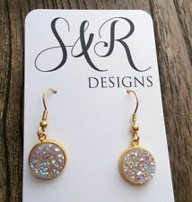 Gold Stainless Steel Faux Druzy Hook Dangle Earrings Sparkly Light Pink AB