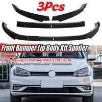 Carbon Black Front Bumper Lip Body Spoiler Splitter For VW Golf MK7.5