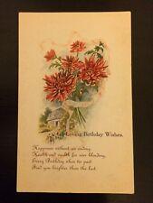 "Vintage greeting card postcard unused original ""Loving Birthday Wishes"" Birthday"