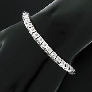 "14K Gold Unisex 2.52ct Burnish Diamond Geometric Pyramid Link 7"" Tennis Bracelet"