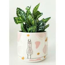 Linear Ceramic Llama Planter, White & Pink