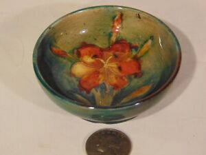 Vintage Green Moorcroft English Art Pottery Bowl  Flowers