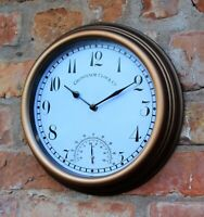 Garden Station Wall Clock Indoor Outdoor Copper effect Temperature 26cm