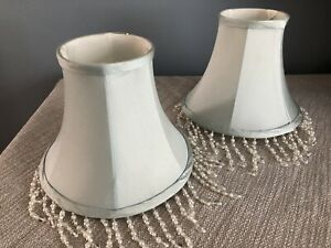 Pair Laura Ashley Silk Lampshades Pale Blue With Beads