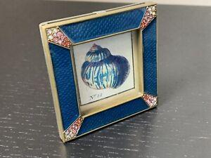 "Jay Strongwater 'Leland' 2"" Square Frame in 'Delft Garden' Blue"