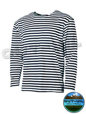 T-shirt (replica Marina Militare Russa) manica lunga bianca con righe blu