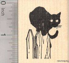 Black Cat with Glowing Eyes Rubber Stamp  G20508 WM