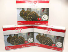SET of 3 - 150 Count Net Lights {CLEAR COLOR BULBS} with Green Wire 6' x 4'