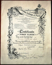 More details for london college of music antique first class pianoforte certificate 19 july 1902