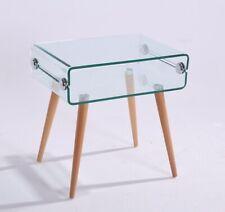 Mesa auxiliar baja Holanda, cristal, madera, 55x40 cm