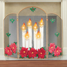 Lighted Christmas Candle & Red Poinsettias Decorative Tri-Fold Fireplace Screen