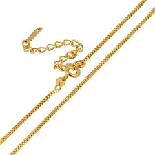 Yellow Solid Gold Plated Womens Fashion Box Chain Necklace 460+50mm Adjustable
