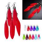Multicolor Long Dangle Tassel Feather Drop Hook Stud Earrings For Elegant Women