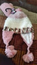 girl's hat and mitten set pink and white wool  9-12 years