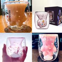 2019 Sakura 6oz Pink Starbucks Cat Cat's/Thanos  Paw Double Wall Glass Mug Cup