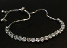 18K White Gold Tennis Bracelet made w/ Authentic Swarovski Crystal Stone Trendy