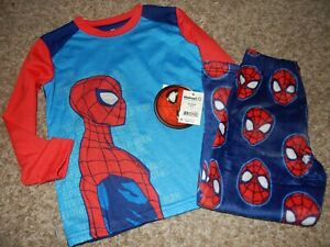 9J NWT 4/5 Marvel Spider-Man Boys 2 Piece Pajamas Set Shirt & Fleece Pants