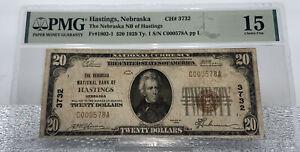 1929 $20 National Currency Hastings,Nebraska Ch#3732 Fr.1802 Type-1 PMG 15