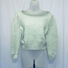 Victorias Secret Sweater Size XS Crop Oversized Round Neck Fuzzy Cozy Green