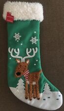 "Target Shaggy Plush Reindeer White Snowflake Tree Green 18"" Christmas Stocking"