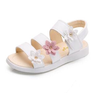 Kids Girls Sweet Summer Beach Sandals Outdoor Gladiator Soft Flower Backstrap