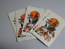 Vintage 60s Halloween Bags Paper Trick or Treat Candy Sack Novelty Pirate Witch