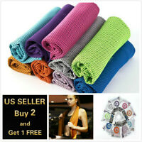 Ice Instant Cooling Towel Sports Workout Fitness Gym Yoga Hiking Pilates